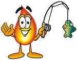 Clip Art Graphic of a Fire Cartoon Character Holding a Fish on a Fishing Pole