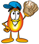 Clip Art Graphic of a Fire Cartoon Character Catching a Baseball With a Glove