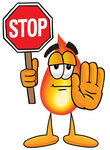 Clip Art Graphic of a Fire Cartoon Character Holding a Stop Sign