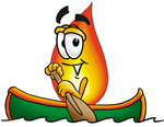Clip Art Graphic of a Fire Cartoon Character Rowing a Boat