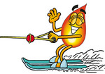 Clip Art Graphic of a Fire Cartoon Character Waving While Water Skiing