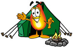 Clip Art Graphic of a Fire Cartoon Character Camping With a Tent and Fire