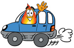 Clip Art Graphic of a Fire Cartoon Character Driving a Blue Car and Waving