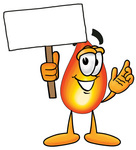 Clip Art Graphic of a Fire Cartoon Character Holding a Blank Sign