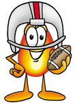 Clip Art Graphic of a Fire Cartoon Character in a Helmet, Holding a Football