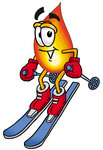 Clip Art Graphic of a Fire Cartoon Character Skiing Downhill