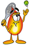 Clip Art Graphic of a Fire Cartoon Character Preparing to Hit a Tennis Ball