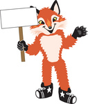 Clipart Picture of a Fox Mascot Cartoon Character Holding a Blank Sign