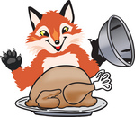 Clipart Picture of a Fox Mascot Cartoon Character Serving a Thanksgiving Turkey on a Platter