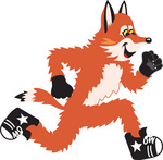 Clipart Picture of a Fox Mascot Cartoon Character Running
