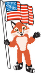 Clipart Picture of a Fox Mascot Cartoon Character Pledging Allegiance to an American Flag