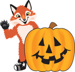 Clipart Picture of a Fox Mascot Cartoon Character With a Carved Halloween Pumpkin