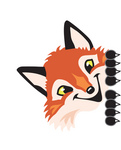 Clipart Picture of a Fox Mascot Cartoon Character Peeking Around a Corner