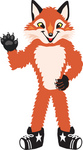 Clipart Picture of a Fox Mascot Cartoon Character Waving