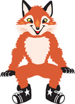Clipart Picture of a Fox Mascot Cartoon Character Sitting