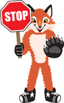 Clipart Picture of a Fox Mascot Cartoon Character Holding a Stop Sign