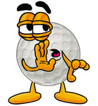 Clip Art Graphic of a Golf Ball Cartoon Character Whispering and Gossiping