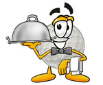 Clip Art Graphic of a Golf Ball Cartoon Character Dressed as a Waiter and Holding a Serving Platter