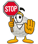 Clip Art Graphic of a Golf Ball Cartoon Character Holding a Stop Sign