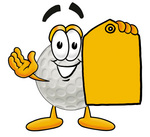 Clip Art Graphic of a Golf Ball Cartoon Character Holding a Yellow Sales Price Tag