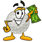 Clip Art Graphic of a Golf Ball Cartoon Character Holding a Dollar Bill
