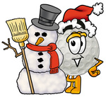 Clip Art Graphic of a Golf Ball Cartoon Character With a Snowman on Christmas