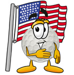 Clip Art Graphic of a Golf Ball Cartoon Character Pledging Allegiance to an American Flag
