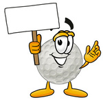 Clip Art Graphic of a Golf Ball Cartoon Character Holding a Blank Sign