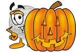 Clip Art Graphic of a Golf Ball Cartoon Character With a Carved Halloween Pumpkin