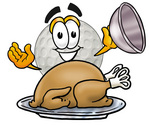 Clip Art Graphic of a Golf Ball Cartoon Character Serving a Thanksgiving Turkey on a Platter