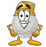 Clip Art Graphic of a Golf Ball Cartoon Character Wearing a Hardhat Helmet