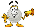 Clip Art Graphic of a Golf Ball Cartoon Character Holding a Megaphone
