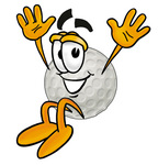 Clip Art Graphic of a Golf Ball Cartoon Character Jumping