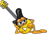 Clip Art Graphic of a Yellow Electric Guitar Cartoon Character Resting His Head on His Hand