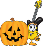 Clip Art Graphic of a Yellow Electric Guitar Cartoon Character With a Carved Halloween Pumpkin