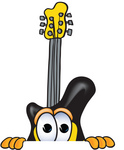 Clip Art Graphic of a Yellow Electric Guitar Cartoon Character Peeking Over a Surface