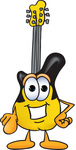 Clip Art Graphic of a Yellow Electric Guitar Cartoon Character Pointing at the Viewer
