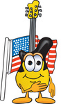 Clip Art Graphic of a Yellow Electric Guitar Cartoon Character Pledging Allegiance to an American Flag