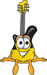Clip Art Graphic of a Yellow Electric Guitar Cartoon Character Sitting