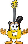 Clip Art Graphic of a Yellow Electric Guitar Cartoon Character With Welcoming Open Arms