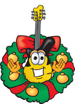 Clip Art Graphic of a Yellow Electric Guitar Cartoon Character in the Center of a Christmas Wreath