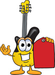 Clip Art Graphic of a Yellow Electric Guitar Cartoon Character Holding a Red Sales Price Tag