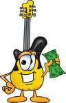 Clip Art Graphic of a Yellow Electric Guitar Cartoon Character Holding a Dollar Bill