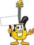 Clip Art Graphic of a Yellow Electric Guitar Cartoon Character Holding a Blank Sign