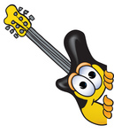 Clip Art Graphic of a Yellow Electric Guitar Cartoon Character Peeking Around a Corner