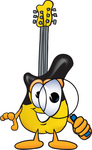 Clip Art Graphic of a Yellow Electric Guitar Cartoon Character Looking Through a Magnifying Glass