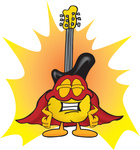 Clip Art Graphic of a Yellow Electric Guitar Cartoon Character Dressed as a Super Hero