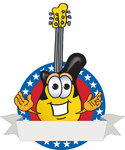 Clip Art Graphic of a Yellow Electric Guitar Cartoon Character Label With Stars