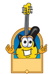Clip Art Graphic of a Yellow Electric Guitar Cartoon Character Label