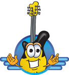 Clip Art Graphic of a Yellow Electric Guitar Cartoon Character Logo